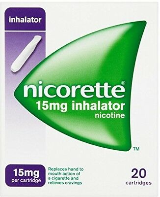 Nicorette Inhalator 15 mg, 20 Cartridges replace nicotine stop smoking