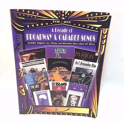 A Decade of Broadway & Cabaret Songs 1990-2000 Warner Bros Piano Vocal Chords