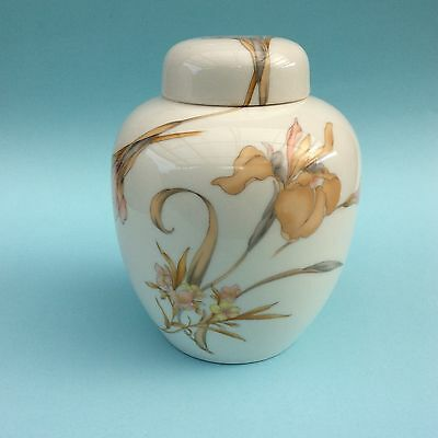 JAPANESE PORCELAIN GINGER JAR Apricot Iris Flowers on White Lidded Collectible