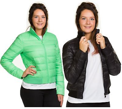 Ladies Padded Bomber Jacket Down Feather Lining Plain Quilted Vintage Zip Coat