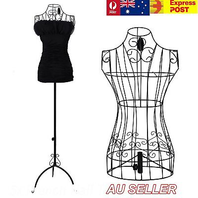 1x Female Vintage Mannequin Black Iron Wire Adjustable Height Shop Hangerght Sho