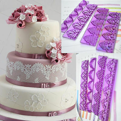 4Pcs Flower Lace Fondant Cookie Cutter Plunger Press Cake Mold Decoration Tool