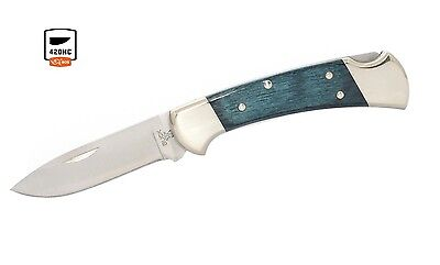 Buck Knives 112 Ranger Indigo Blue Nickel Silver Drop Point Folding Knife