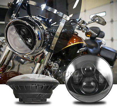 "7"" LED Projector Daymaker Black Headlight For Harley Street Glide Softail FLHX"
