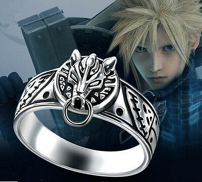 925 Silver Final Fantasy VII Sephiroth Cloud Strife Ring Wolf Head