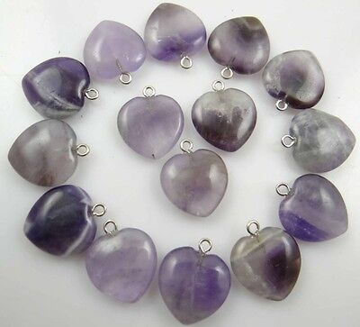 Beautiful Heart amethyst agate pendant Gemstone LOOSE necklace