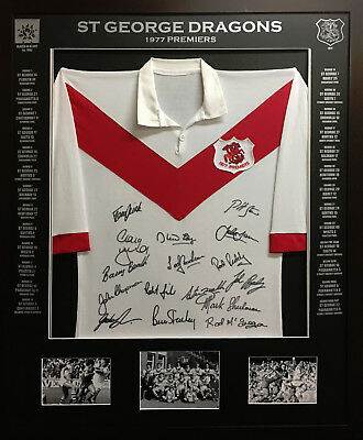 Blazed In Glory - 1977 St George Dragons Premiers - NRL Signed and Framed Jersey