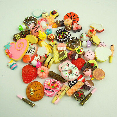 50pcs Kawaii Resin Food Heart Cookie Bread Artificial Cake Cabochons Cameo TO372