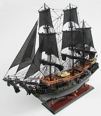 "Black Pearl Caribbean Pirate Tall Ship Assembled 36"" Built Wooden Model Boat New"