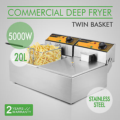 2x10L Stainless Steel Commercial Twin Double Tank Electric Deep Fat Fryer Chip