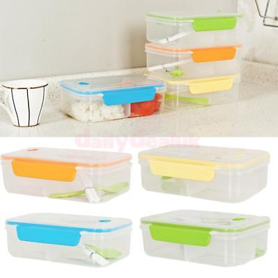 Plastic Bento Lunch Box + Spoon +Chopsticks Picnic Food Container Storage Box