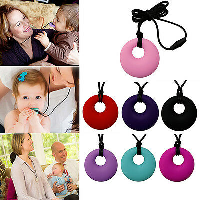 Silicone No BPA Mom Pendant Necklace Teething Nursing Baby Teether Chewable Ring