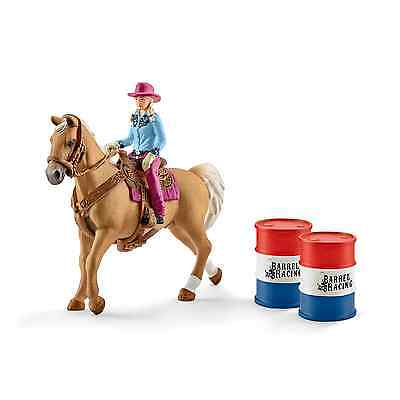 NEW Schleich North America Barrel Racing with Cowgirl Playset FREE SHIPPING