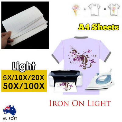10/20/50/100 sheets A4 Iron Heat Transfer Paper For Light Cotton T-shirt AU Ship