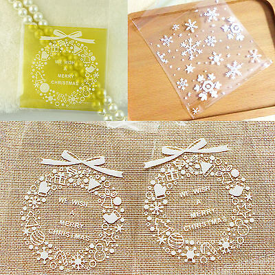7*7Cm 5 - 100 Pcs Self-Adhesive Merry Christmas Snow Candy Cookies Gift Bags