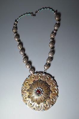 19th  Century Antique Central Asian Gilt Silver button necklace