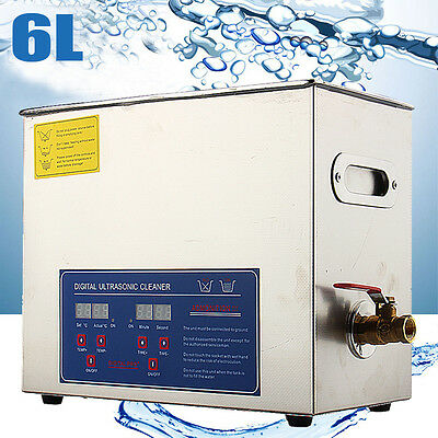 6L Digital Ultrasonic Cleaner Stainless Steel Ultra Sonic Bath Heater Tank Timer