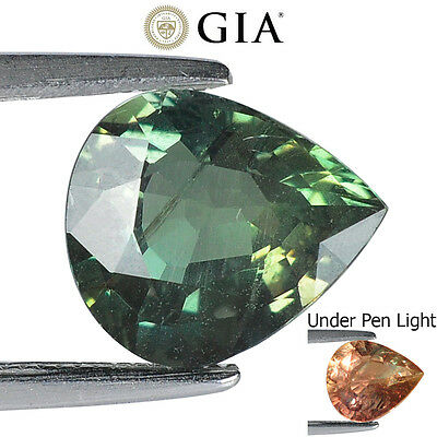 2.30Cts Gia Certified Natural Alexandrite Colour Change Pear Rare Gemstone