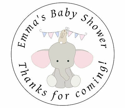 24 x Baby Shower ELEPHANT PINK BLUE GREEN Personalised Stickers Labels