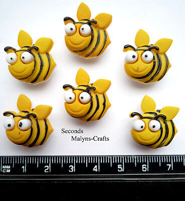 FUZZY BEES Craft Buttons 1ST CLASS POST Garden Flower Insect Novelty Food Honey