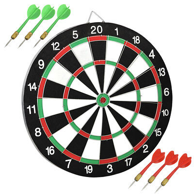 """14"""" Full Size Round Dart Board Dartboard 6 Darts Party Game Toy Playset"""