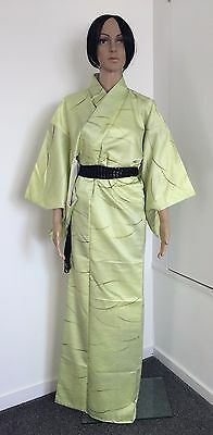 Authentic Japanese silk kimono for women, very light lime green (F316)