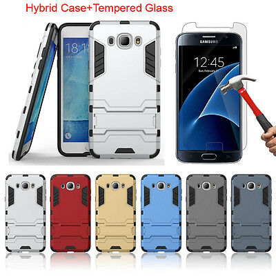 Hybrid Armor Stand Case Cover + Tempered Glass Film For Samsung Galaxy J7 2016