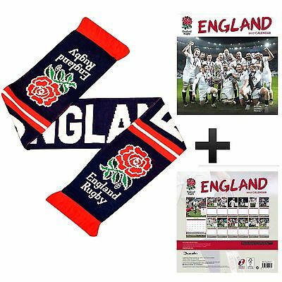 England Rugby RFU 2017 Calendar & Official Rugby Rose Scarf Gift Set