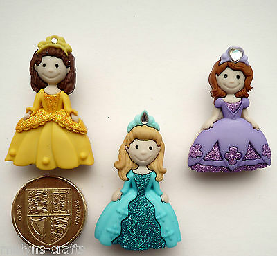 PRETTY PRINCESS Craft Buttons 1ST CLASS POST Girl Fairy Tale Fantasy Baby Magic
