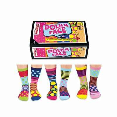 Odd Socks Polka Face Ladies Gift Box Size 4-8 - Gifts For Her Stocking Filler