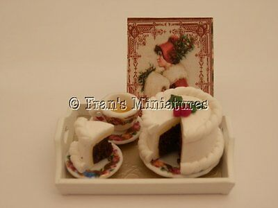 Dolls house food: Tea & Christmas cake tray -By Fran