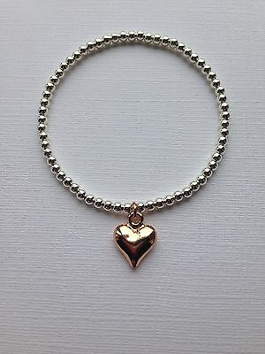Rose Gold Heart On Silver Plated Beaded Bracelet Stretch Handmade