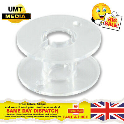 20 X Clear Bobbins - Domestic Sewing Machine Plastic Spool UNIVERSAL UK