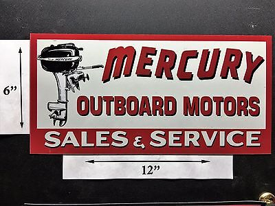 Mercury Outboard Motor Old School Sign Remake Refrigerator Toolbox Magnet 6 X 12