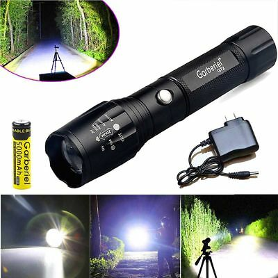 Tactical Police 90000 Lumen T6 LED Flashlight Torch 18650 Battery&Charger USA