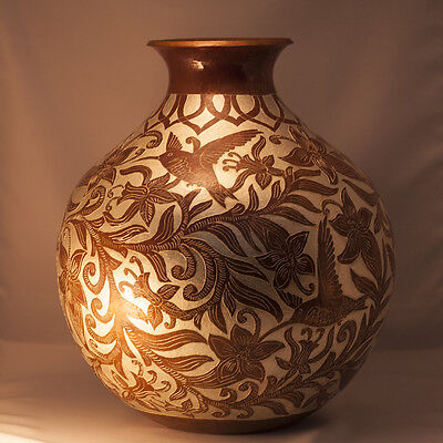 Copper Vase, Etched With Hummingbirds & Flowers, By Abdon Punzo Angel