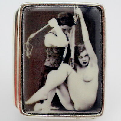 ENAMEL 1920's STYLE EROTIC SPANKING PILL BOX 925 STERLING SILVER HALLMARKED