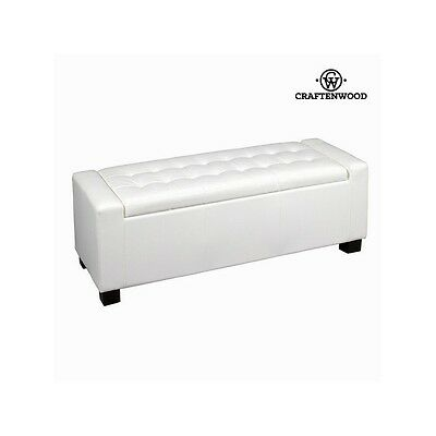 Banquette coffre similicuir blanc by Craften Wood