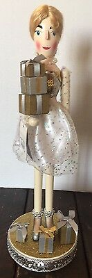 New Pier 1 Shopping Lady Gold Wooden Nutcracker Gifts Gown Collectible Glitter