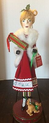 New Pier 1 Shopping Lady Red Fur Trench Coat Wooden Nutcracker Gifts Dog Gem
