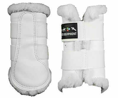 HKM Comfort Fleece Lined Brushing Boots-Protection-Flatwork-Dressage-White-F/P&P
