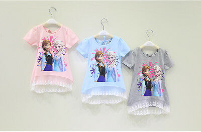 Disney Frozen Girls Ana Elsa Top T-Shirt 100% Cotton 2-9 Years Anna Elsa- UK