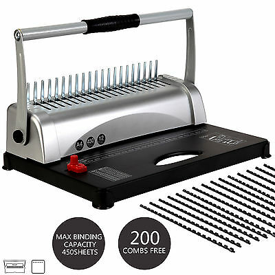 21 Hole 450 Sheet Dual handle Comb Binding Machine Paper Punch Binder W/ Combs