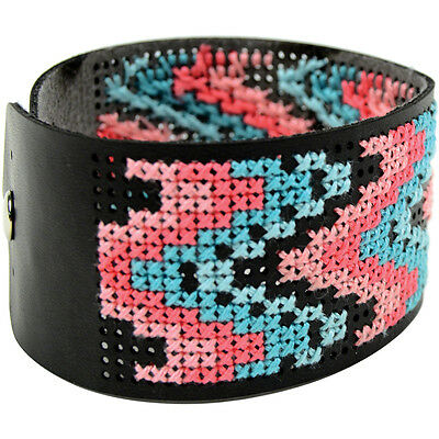 """Faux Leather Bracelet Punched For Cross Stitch-8""""X1.5"""" Black"""
