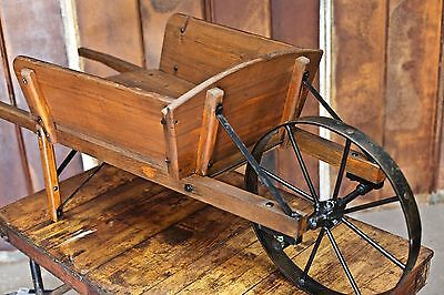 Antique Primitive Wood Wheelbarrow Garden Fall Display Cart Planter Metal Wheel