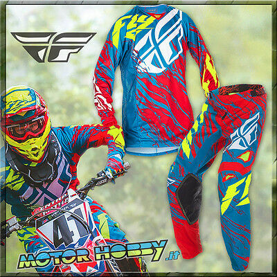 Completo Cross Enduro Fly Racing Kinetic Relapse Teal Red Yellow 2017 Tg. L - 34