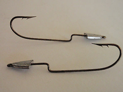 12 EagleClaw LazerSharp-DOUBLE BARBED-WEIGHTED Worm Hooks 4/0-1/4oz Fish Hooks