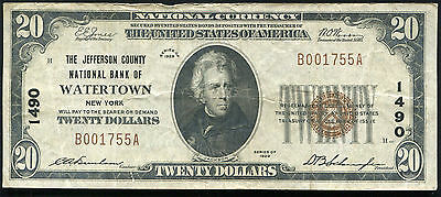 1929 $20 Jefferson County Nb Of Watertown, Ny National Currency Ch. #1490