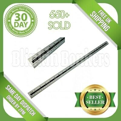 "60Cm 24"" Large Long Metal Light Aluminium Metric Imperial Dual Markings Ruler"