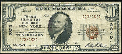 1929 $10 Chase Nb Of The City Of New York, Ny National Currency Ch. #2370